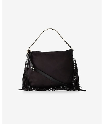 fringed hobo bag with chain handle