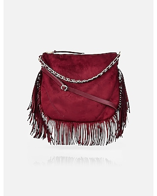Express Womens Fringed Hobo Bag With Chain Handle at Express