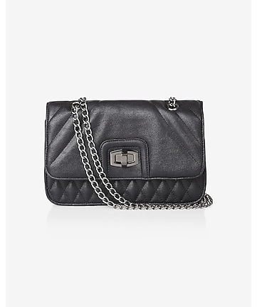 linear quilted chain strap shoulder bag
