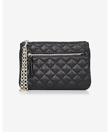 quilted chain strap wristlet