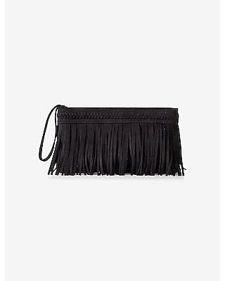 EXPRESS Women's Bags Braided Trim Fringe Clutch Black