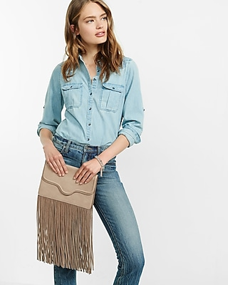 Express Womens Genuine Suede Fringe Clutch at Express