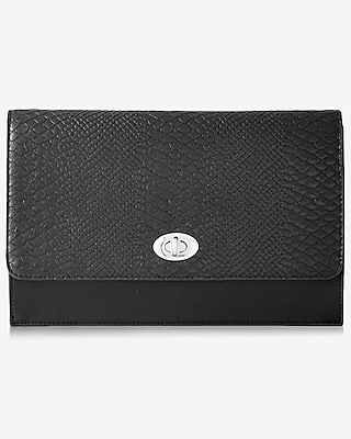 Express Womens Black Faux Snakeskin Clutch at Express