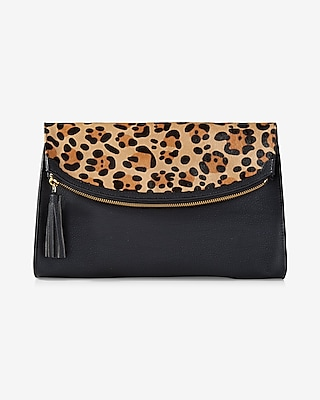 Express Womens Leopard Print Rounded Fold-Over Clutch at Express