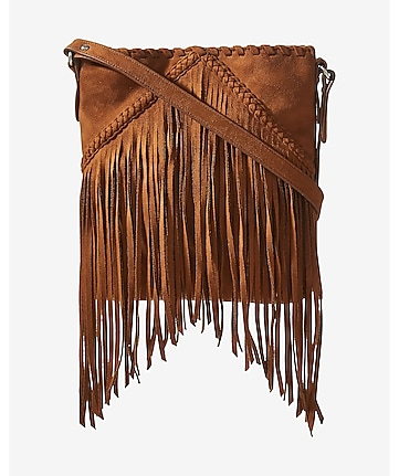 faux suede fringe cross body bag