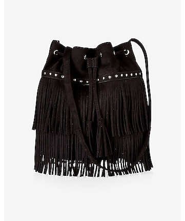 faux suede fringed and studded bucket bag