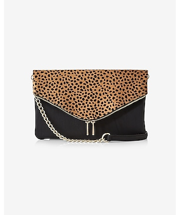 leopard print envelope fold-over clutch