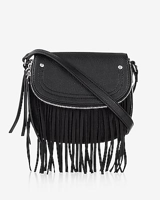 Express Womens Small Fringe Zip Flap Cross Body Bag at Express