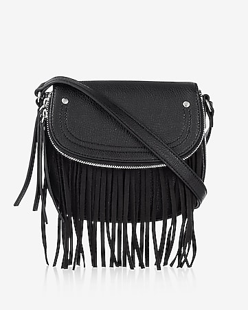 small fringe zip flap cross body bag