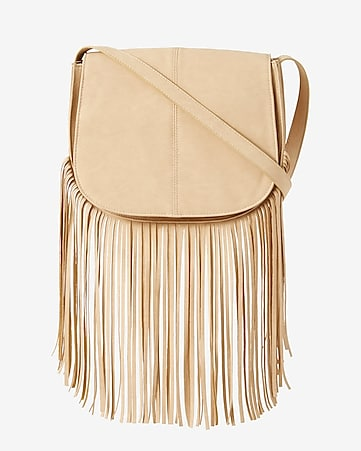 fringed cross body saddle bag