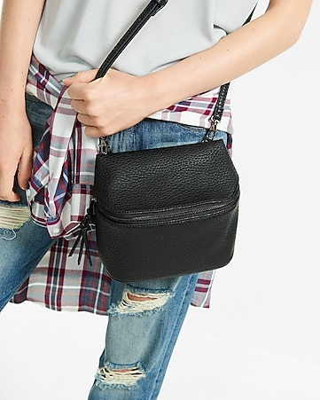 black pebbled convertible crossbody bag