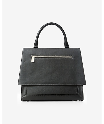 black zip front structured handle satchel