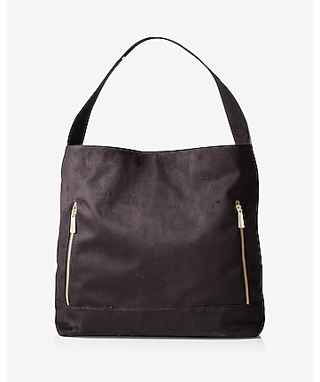 double zip faux suede hobo bag