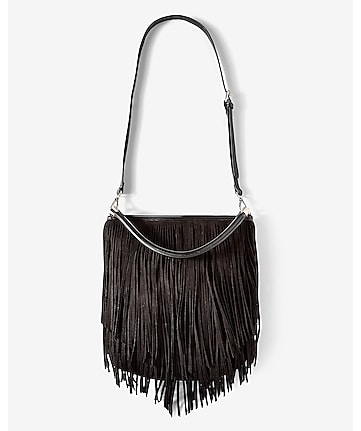 black fringed hobo bag