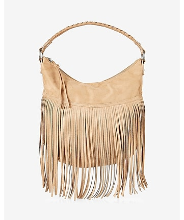 braided handle fringed hobo bag