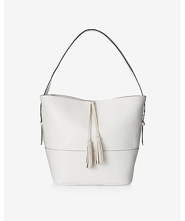 white faux snakeskin tassel hobo bag