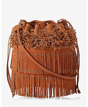 genuine suede studded fringe bucket bag