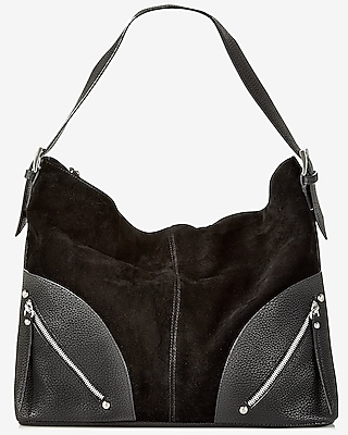 Express Womens Double Zip Buckle Handle Hobo Bag at Express