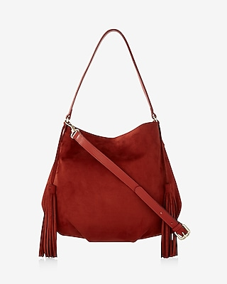 Express Womens Faux Suede Tassel Mini Hobo Bag at Express