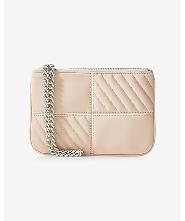 quarter quilted chain strap wristlet