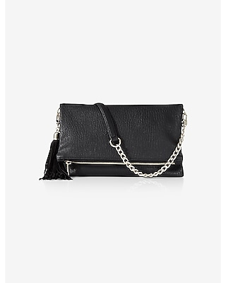 Express Womens Tassel Fold-Over Clutch at Express