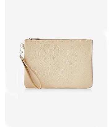 oversized metallic wristlet