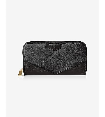 mixed texture zip clutch wallet