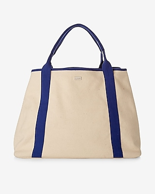 Express Womens Canvas Beach Tote Blue