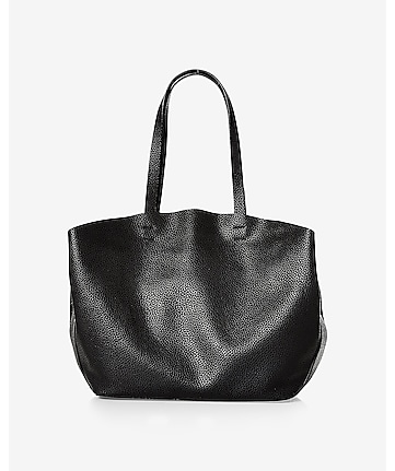 black pebbled slouchy tote