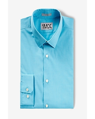 Express Mens Fitted 1Mx Textured Shirt Blue X Small