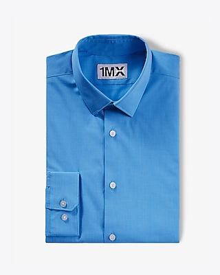 Express Mens Fitted Textured 1Mx Shirt Blue Large