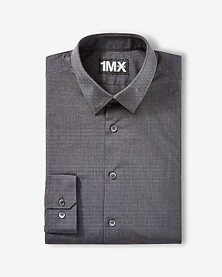 Express Mens Modern Fit Easy Care Textured 1Mx Shirt Gray Small