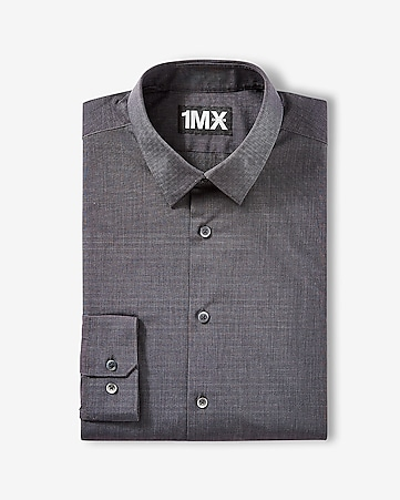 crystal grey modern fit textured 1MX shirt