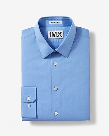 bright blue modern fit textured 1MX shirt