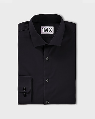 Express Mens Slim Fit Spread Collar 1Mx Shirt Black Medium