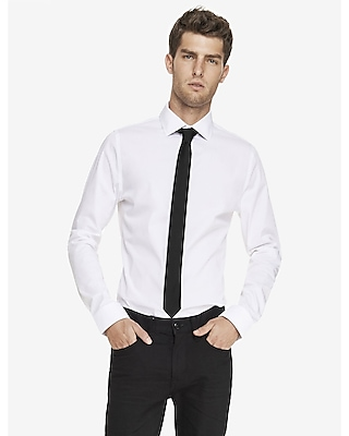 Express Mens Fitted Spread Collar 1Mx Shirt White Small