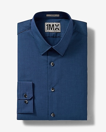 dark blue fitted iridescent 1MX shirt