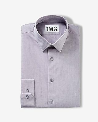 EXPRESS Men's Dress Shirts Slim Iridescent 1mx Shirt Gray L Tall