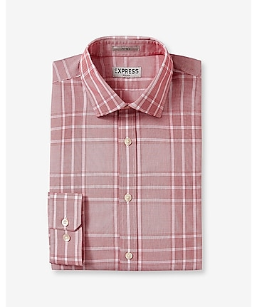fitted plaid non-iron dress shirt