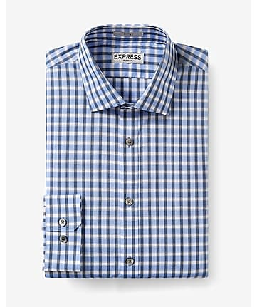fitted check non-iron dress shirt