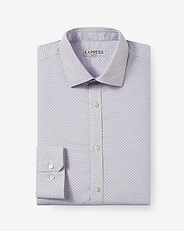 fitted micro geo print non-iron dress shirt
