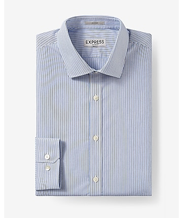 fitted stripe non-iron dress shirt
