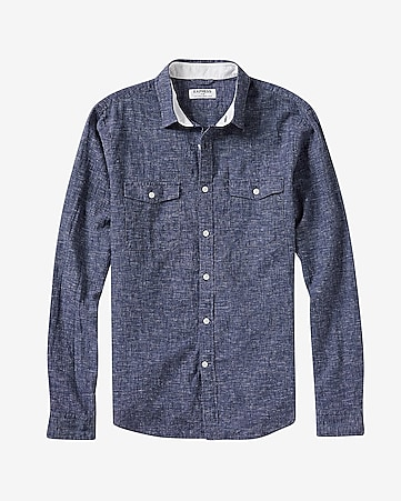 linen-cotton blue two pocket shirt