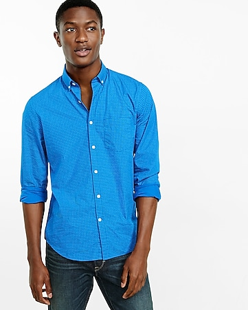 soft wash blue micro print shirt