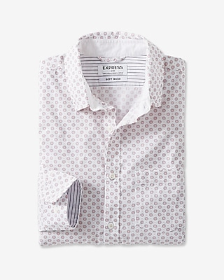 Express Mens Long Sleeve White Micro Print Shirt White Small 20820451