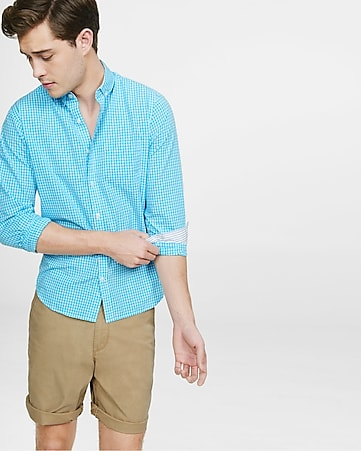 soft wash small check shirt - bright blue