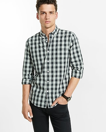 soft wash small buffalo check shirt