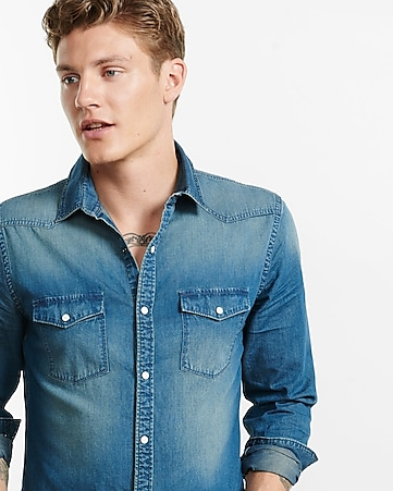 dark blue western denim shirt