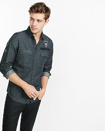 patch embelished denim military shirt