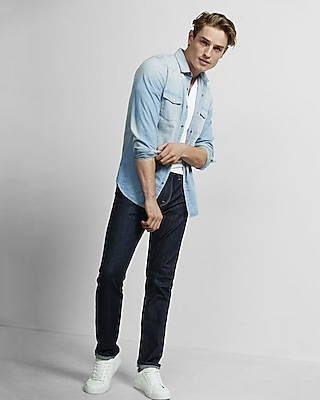 Express Mens Light Blue Western Denim Shirt